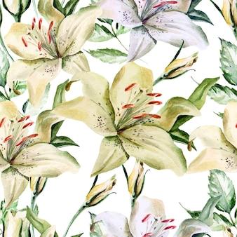 Padrão de aquarela romântico com flores, lírios e rosas.