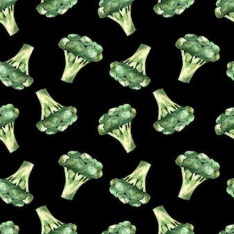 Padrão de aquarela sem costura com brócolis em um fundo preto, ilustração com vegetais