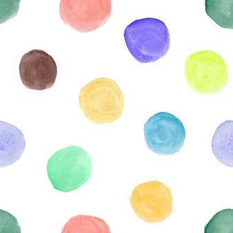 Padrão de aquarela sem costura com círculos coloridos desenhados à mão