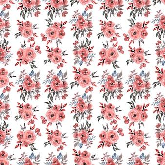 Padrão de aquarela sem costura com floral em cores vermelho-rosa