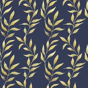 Padrão de aquarela sem costura com folhas verdes de primavera em um fundo azul, plantas selvagens