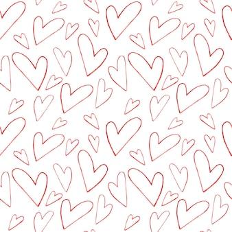 Padrão de aquarela sem emenda com corações vermelhos de contorno em um fundo branco, ilustração em aquarela para o dia dos namorados.