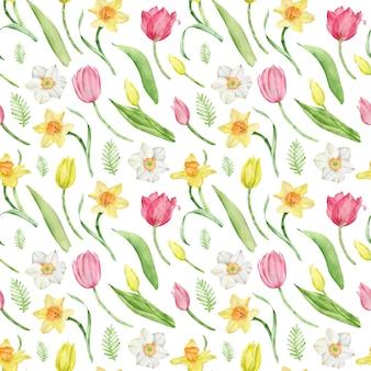 Padrão de aquarela sem emenda de tulipa e narciso