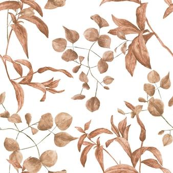 Padrão de aquarela tileable sem costura com plantas