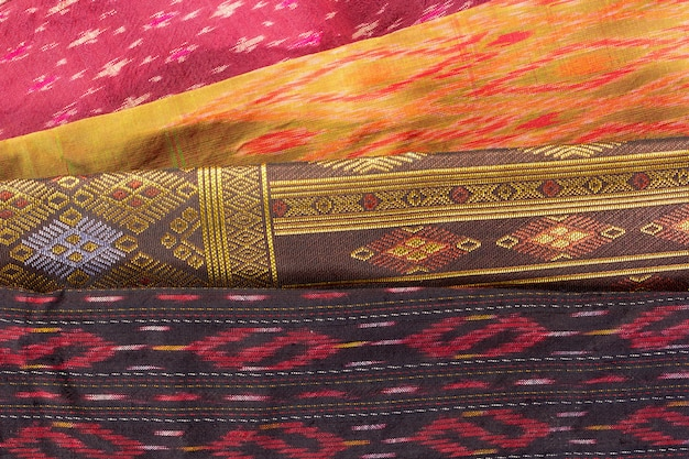Padrão de artesanato de seda tailandesa close-up, estilo de têxteis de tailândia