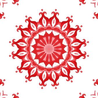 Padrão de azulejo de tinta vermelha em aquarela ornamental sem costura