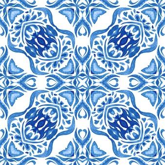 Padrão de azulejo pintado à mão em aquarela mideterranien
