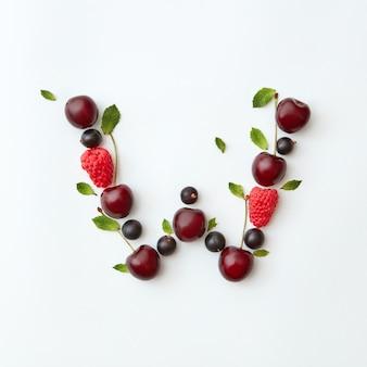 Padrão de bagas de verão do alfabeto inglês da letra w a partir de frutas maduras naturais - groselha preta