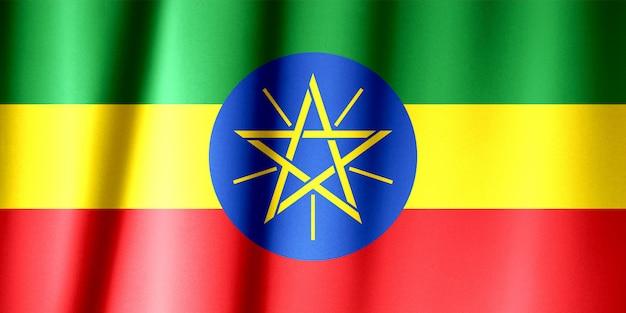Padrão de bandeira da etiópia sobre a textura do tecido