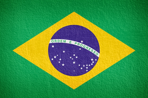 Padrão de bandeira do brasil na parede de concreto