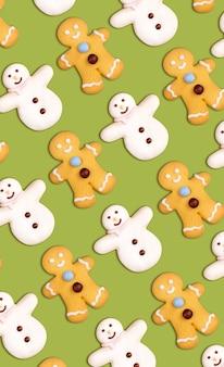 Padrão de biscoitos de natal de boneco de neve e homem-biscoito
