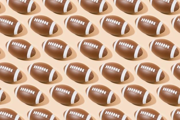 Padrão de bola de futebol americano em fundo marrom. esporte e competição. ilustração 3d