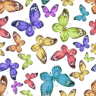 Padrão de borboleta desenhado à mão em aquarela