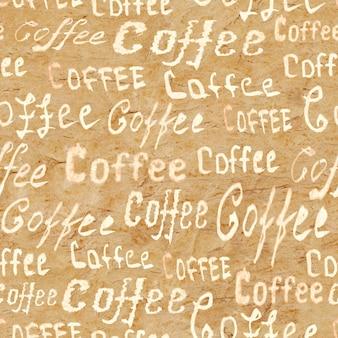 Padrão de café sem costura com letras café na superfície de papel velho