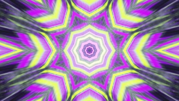 Padrão de caleidoscópio de néon borrado ilustração 3d 4k uhd