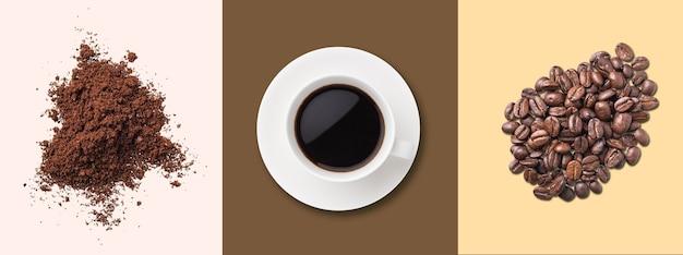 Padrão de conceito de uma xícara de café preto, grãos de café e café instantâneo em fundos pastel. vista do topo. orientação horizontal