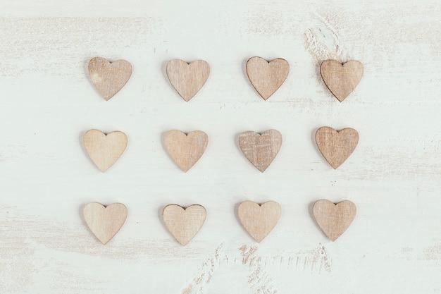 Padrão de coração de madeira