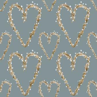 Padrão de coração em aquarela feito de galhos de árvores com bagas ou pérolas. dia dos namorados e design de plano de fundo do dia das mães. ilustração desenhada à mão