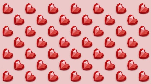 Padrão de corações de papel poligonal vermelho.
