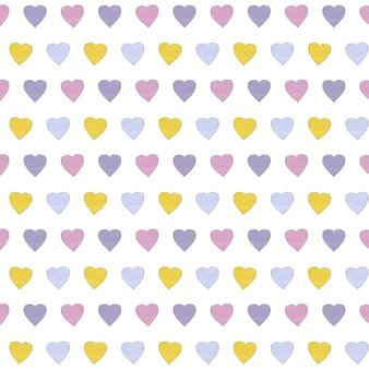 Padrão de corações multicoloridos. desenho em aquarela.