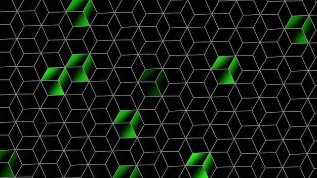 Padrão de cubos verdes, fundo abstrato. estilo geométrico dinâmico elegante e luxuoso para ilustração 3d empresarial
