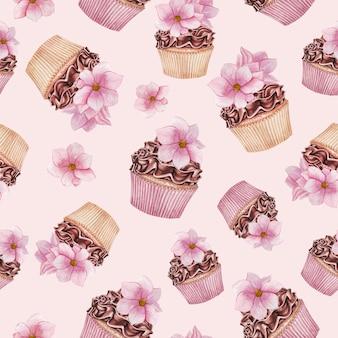 Padrão de cupcakes em aquarela, padrão sem emenda de cupcakes de chocolate