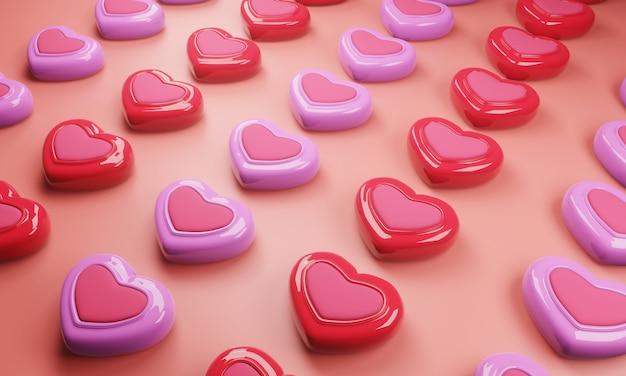 Padrão de doces coloridos com fundo rosa. ilustração 3d