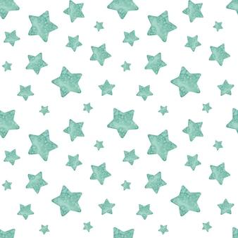 Padrão de estrela verde sem emenda em aquarela. pequenas e grandes estrelas.