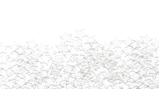 Padrão de estrelas de vidro isolado no fundo branco.