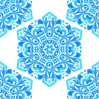 Padrão de floco de neve geométrico azul sem costura desenhado à mão em aquarela