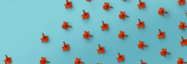 Padrão de flor de cordia laranja sobre fundo azul.