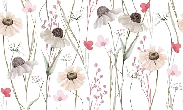 Padrão de flores em aquarela de cores pastel isolado no fundo branco