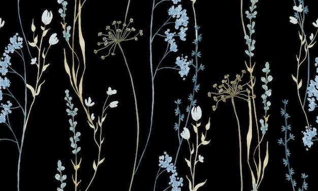 Padrão de flores em aquarela em tons claros de azul e pastel isolado em fundo preto