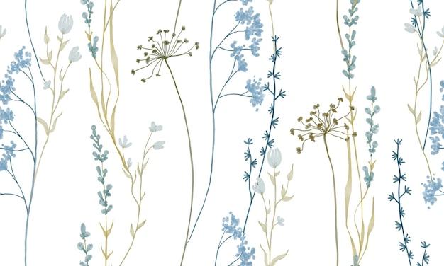 Padrão de flores em aquarela em tons claros de azul e pastel isolado no fundo branco