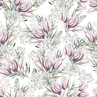 Padrão de flores em aquarela rosa claro sobre fundo branco