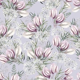 Padrão de flores em aquarela rosa claro sobre fundo lilás claro