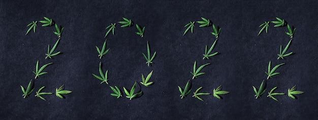 Padrão de folhas de cannabis na forma de números 2022 em um fundo escuro
