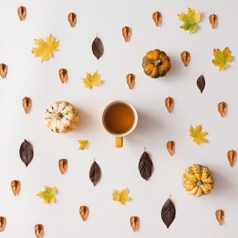 Padrão de folhas de outono com uma xícara de café ou chá na parede branca. postura plana.