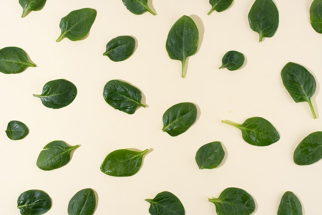 Padrão de folhas frescas de espinafre bebê em fundo amarelo, comida vegetariana