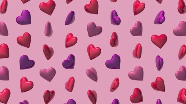 Padrão de formas de coração em fundo rosa. ilustração abstrata, renderização 3d.