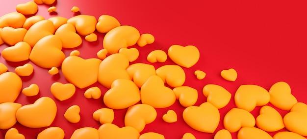 Padrão de fundo dia dos namorados corações. cor vermelha em negrito plana leigos. amo o cartão de celebração, cartaz, modelo de banner para ilustração de renderização 3d festa