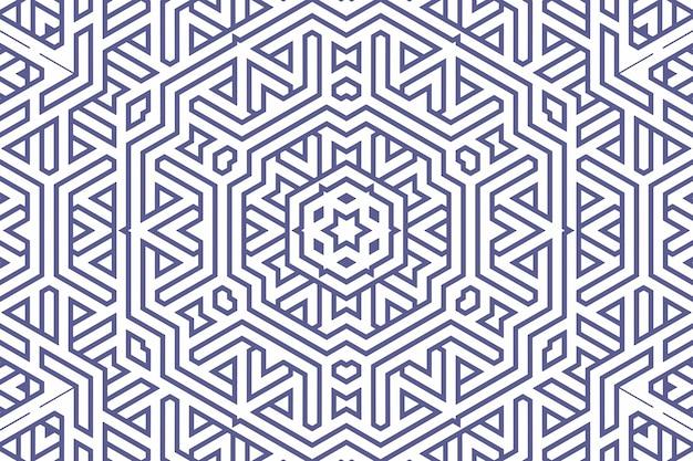 Padrão de fundo geométrico clássico com linhas azuis em branco, ilustração de ornamento de decoração. listras de linhas retas azuis simples de diferentes formas de design