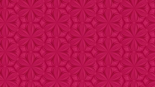 Padrão de geometria de luz tridimensional com flores de seis pontas