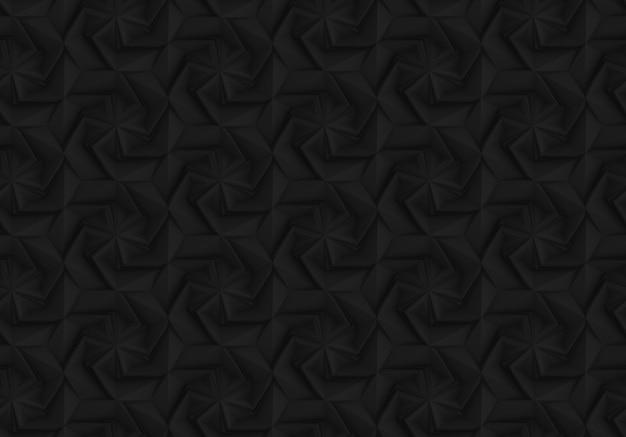 Padrão de geometria escura tridimensional com flores de seis pontas