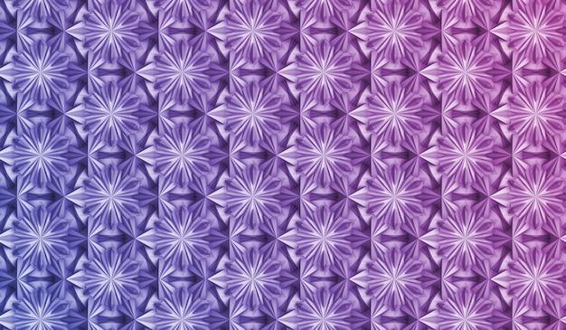 Padrão de geometria tridimensional com flores de seis pontas