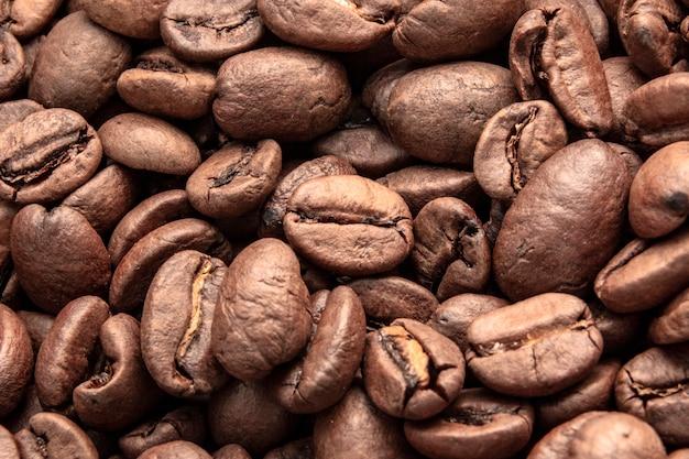 Padrão de grãos de café torrado marrom, grãos de café,