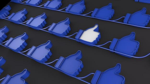 Padrão de ícone de like do facebook em fundo escuro