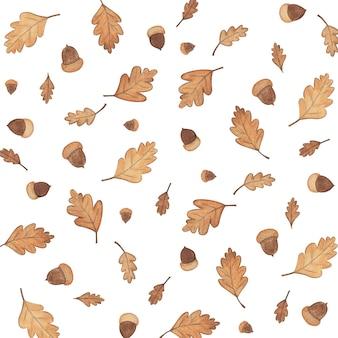Padrão de ilustração de outono com folhas de outono