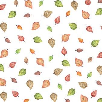 Padrão de ilustração de outono com folhas de várias cores