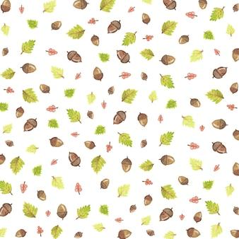 Padrão de ilustração de outono com folhas e bolota